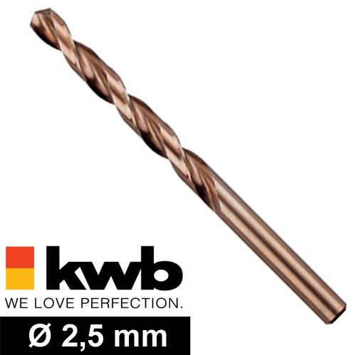 Ø 2,5 mm COBALT HSS CO Metall-Spiralbohrer - für M3 Gewinde