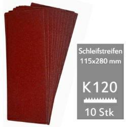 Schleifstreifen K120 f. Schwingschleifer 115x280 mm - 10er Pack für Holz und Metall