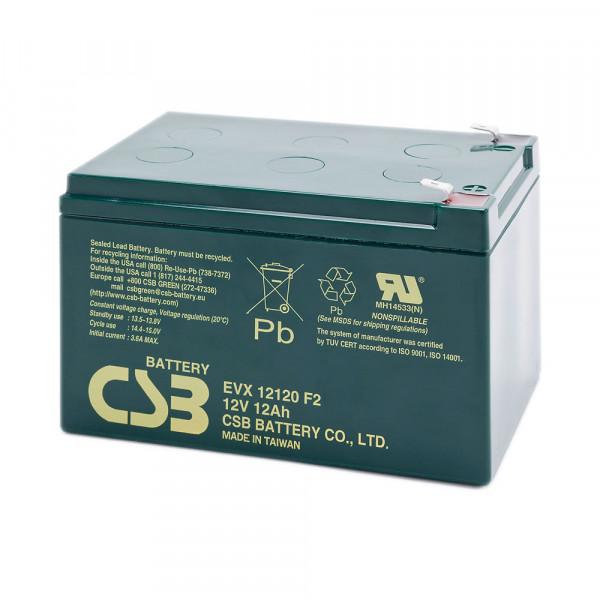 CSB EVX12120 Bleiakku, Zyklenfester-Akku 12 Volt 12Ah