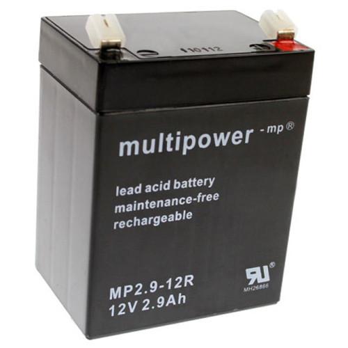 MultiPower Bleiakku MP2.9-12R 12,0Volt 2,9Ah mit 4,8mm Steckanschlüssen (umgekehrte Polung)