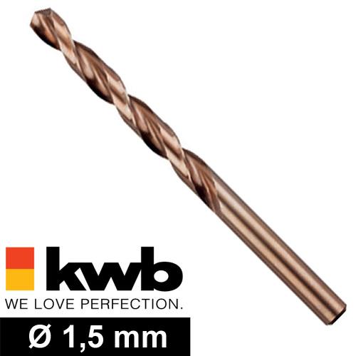 Ø 1,5 mm COBALT HSS CO Metall-Spiralbohrer