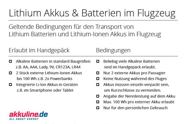 Checkliste: Akkus und Batterien auf dem Flug