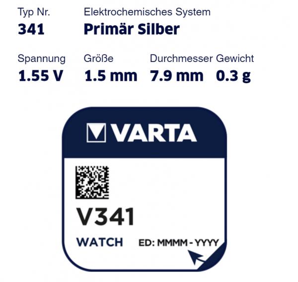 Varta Uhrenbatterie V341 (SR714SW)