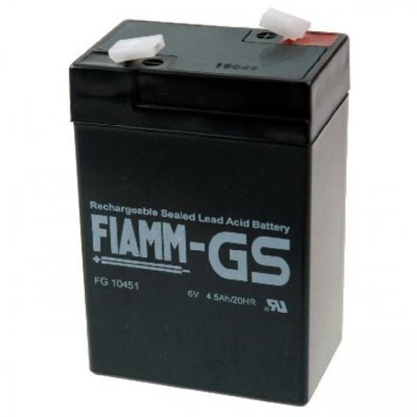 FIAMM Bleiakku FG10451 6,0 Volt 4,5 Ah mit 4,8mm Steckanschlüssen
