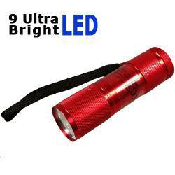 LED Taschenlampe mit 9 Ultra Bright LEDs in rot inkl. Batterien