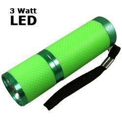 LED Taschenlampe 3 Watt mit Aluminiumgehäuse, neongrün