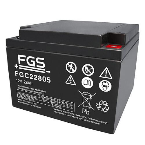 FGS Bleiakku FGC22805 Zyklen-Type 12,0 Volt 28 Ah mit M5-Schraubanschlüssen