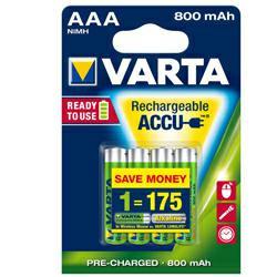 Varta 56703 Longlife Akku Ready2Use Micro (AAA) 1,2 Volt 800mAh NiMH im 4er Blister
