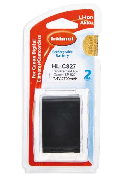 Hähnel Akku passend für Canon BP-827 7,4Volt 2.700mAh Li-Ion (kein Original)