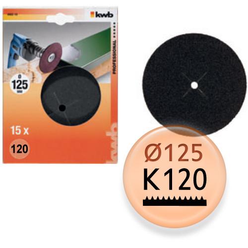 Schleifpapier-Scheiben K120, 15 Stk - für Holz und Metall