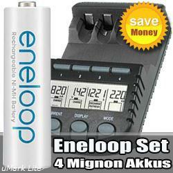 Ladegeräte-Set Akku-Doktor BC700 mit 4 Stück Sanyo Eneloop HR-3U Mignon Akkus