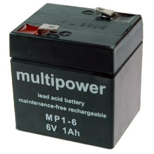 MultiPower Bleiakku MP1-6 6 Volt 1,0Ah mit 4,8mm Steckanschlüssen