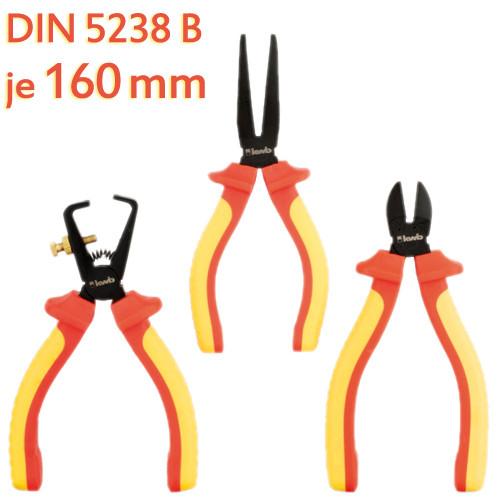 3tlg. VDE Schutzisolierter Zangensatz, je 160 mm - Seitenschneider, Flach- und Abisolierzange