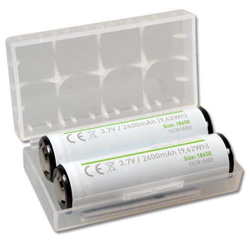 2 Stück 18650 Akku geschützte Samsung Zelle 2600mAh in Aufbewahrungsbox
