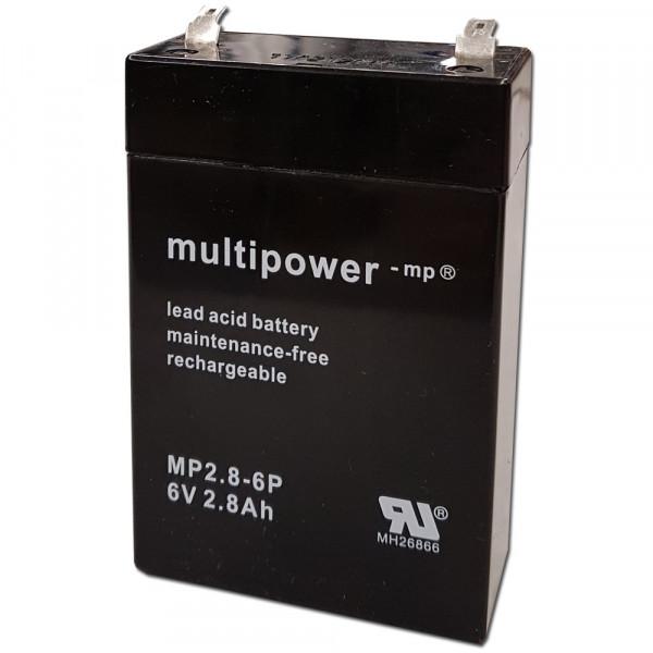 MultiPower Bleiakku MP2.8-6P 6,0Volt 2,8Ah mit 4,8mm Steckanschlüssen