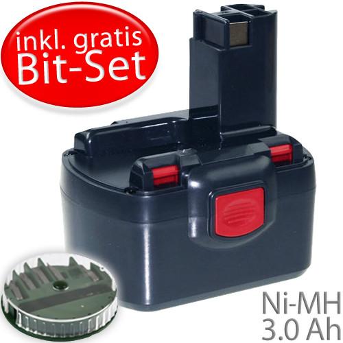 12V Ersatz-Akku für BOSCH PSR 12VE-2 Akkuschrauber mit 3000mAh plus gratis Bit-Set