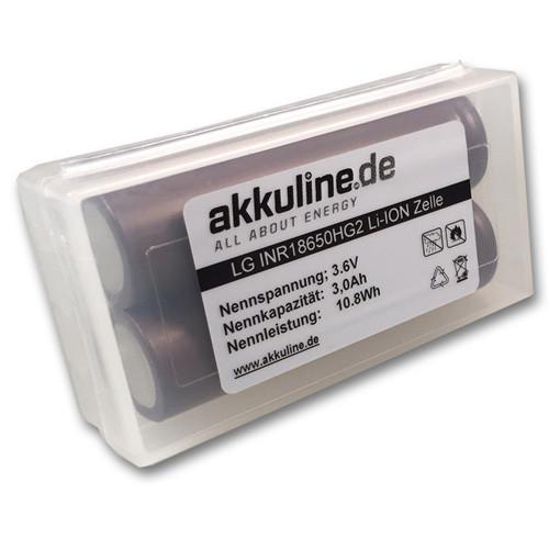 2er Pack LG INR18650 HG2 3000mAh Akku ungeschützt inkl. Akkubox