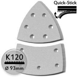 K120 Schleifdreiecke 93 / 100x62 mm f. Deltaschleifer, mit Quick-Stick - Holz u. Lack