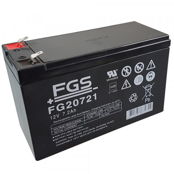 FGS Bleigelakku FG20721 12,0 Volt 7,2 Ah mit 4,8mm Steckanschlüssen