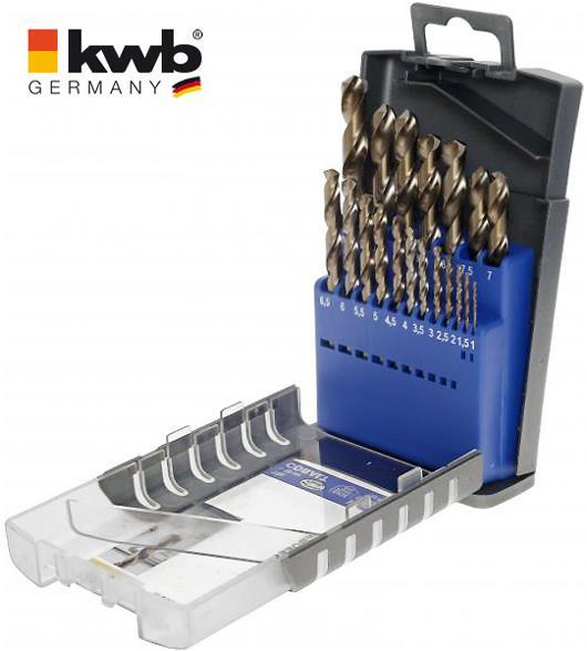 19-tlg. Set an COBALT HSS CO Metall-Spiralbohrer Ø 1-10 mm