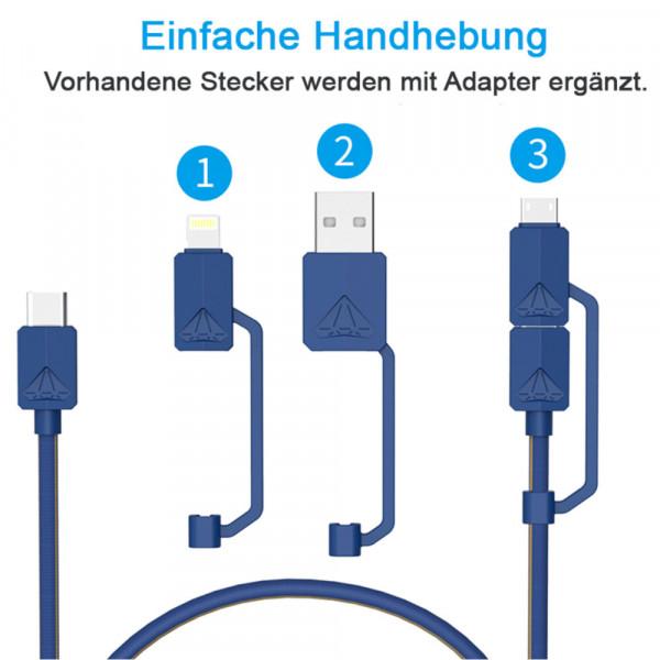 USB-PDC-3 Multifunktions USB- Kabel 1,2m, iPhone, Micro, USB-C, USB-A