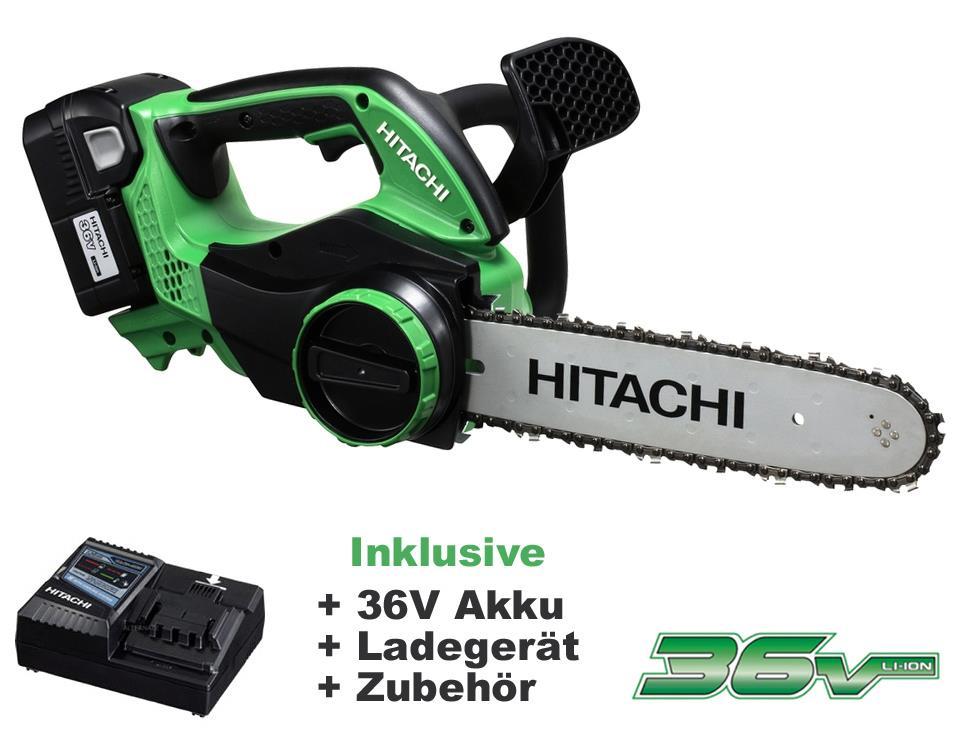36 V Gr/ün Schwarz CS36DL Akku Kettens/äge Hitachi Basic