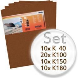 50teiliges Schleifbogen-Set mit K40, K100, K150, K180 - für Holz und Farbe