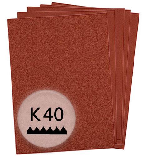 K40 Schleifpapier in 10 Bögen, 230x280mm - für Holz und Metall