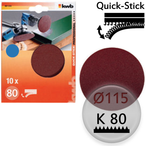 K80 Schleifscheiben Ø 115m, Quick-Stick - für Holz, Metall, Kunststoff