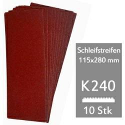 Schleifstreifen K240 f. Schwingschleifer 115x280 mm - 10er Pack für Holz und Metall