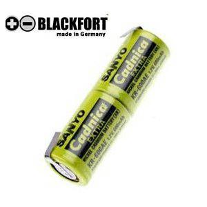 Blackfort Zahnbürstenakku 2,4V 500mAh NiCD Akku für elektrische Zahnbürste mit Lötfahnen in U-Form