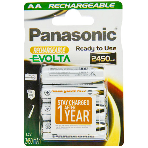 PANASONIC Rechargeable Evolta Mignon (AA) Akku 1,2Volt 2450mAh - 4er Pack
