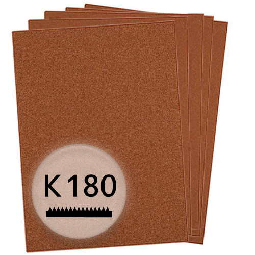 K180 Schleifpapier in 10 Bögen, 230x280mm - für Holz und Farbe