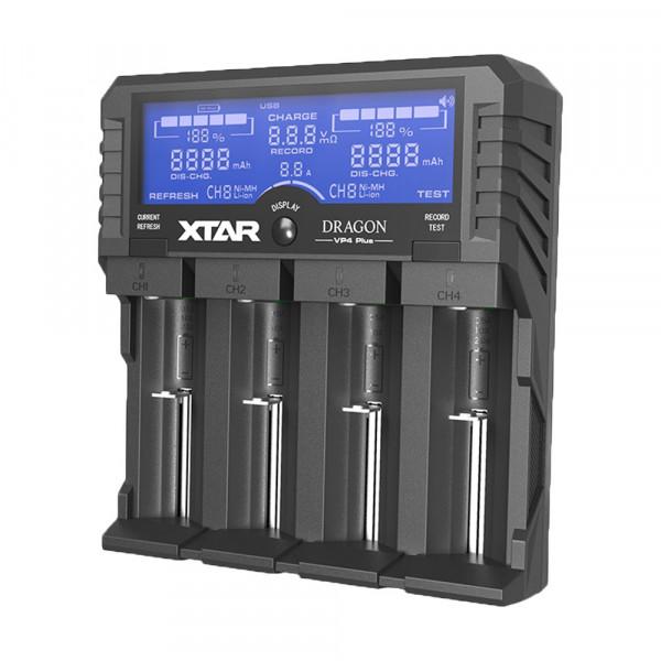 XTAR Dragon VP4 Plus USB 4-Schacht-Ladegerät für Li-Ionen/Ni-MH (0,5A / 1A)