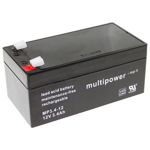 Multipower MP3.4-12 Bleiakku Zyklentyp 12,0Volt 3,4Ah mit 4,8 mm Steckanschlüssen