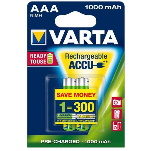 VARTA Accu Micro 5703 Power AAA Akku 1,2Volt 1000mAh NiMH im 2er Pack