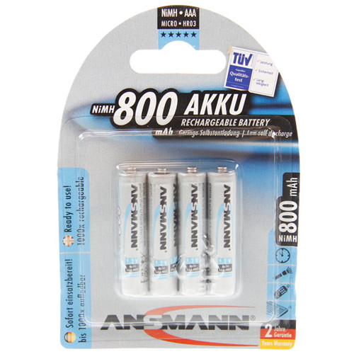 ANSMANN Standard Micro Blue Akku (AAA) 1,2Volt 800mAh NiMH im 4er Blister