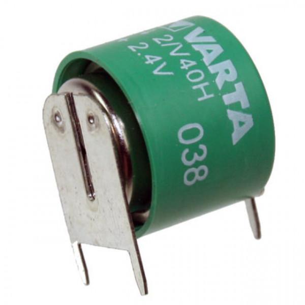 VARTA Knopfzellen Akku 2/V40H Akku Säule 2,4Volt 40mAh NiMH mit 3er-Printanschlüssen