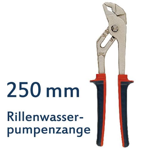 Rillen-Wasserpumpenzange 250 mm mit Klemmschutz, CV-Stahl, TÜV/GS geprüft