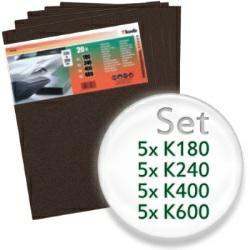 20teiliges Schleifbogen-Set mit K180, K240, K400, K600 - für Lack und Auto, wasserfest