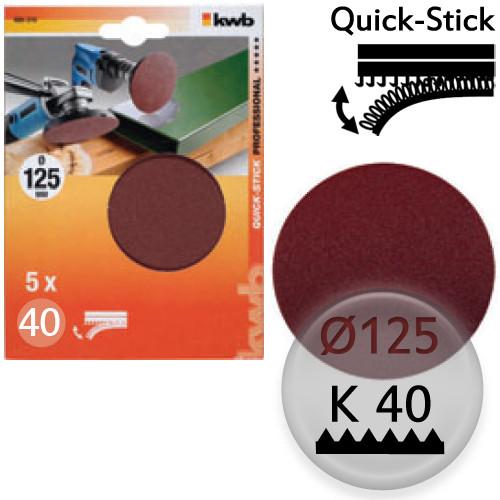 K40 Schleifscheiben Ø 125m, Quick-Stick - für Holz, Metall, Kunststoff