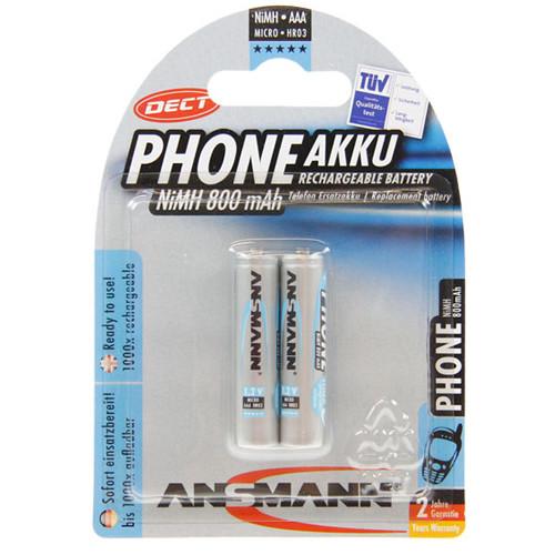 ANSMANN Dect Micro Akku (AAA) 1,2Volt 800mAh NiMH im 2e- Blister