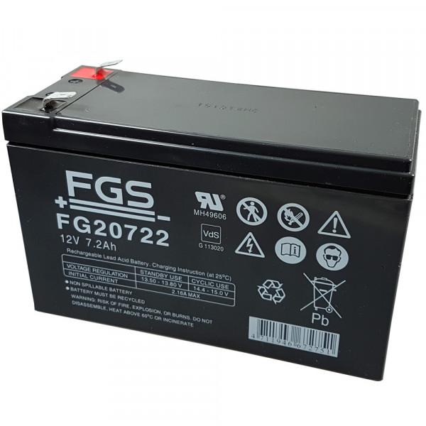 FGS Bleigelakku FG20722 12 Volt 7,2 Ah mit 6,3 mm Steckkontakte, wartungsfrei