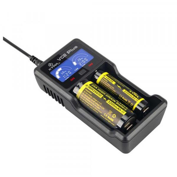 Xtar VC2Plus Master USB 2 Schacht Ladegerät für Li-Ionen/Ni-MH (0,5A / 1A)