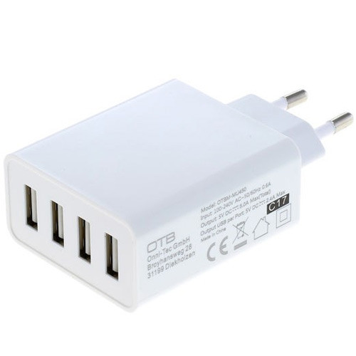 4-Port USB-Ladeadapter als universelle Multiladestation, 5,0A in weiss