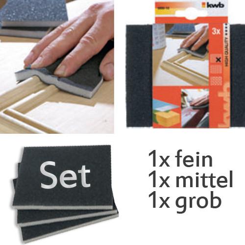Set Schleifschwämme 3 Stk, je 125x100x10mm - für Holz und Metall