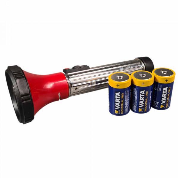 Klassische Halogen Taschenlampe mit 3 Mono Batterien