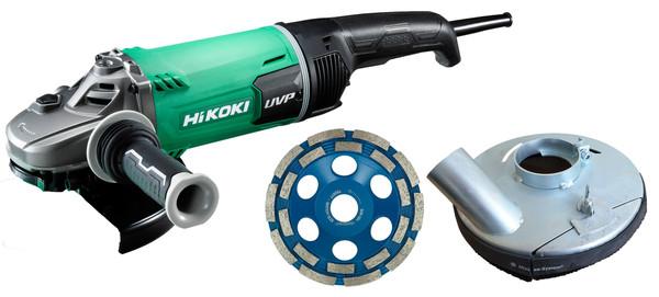 Hikoki G23UDY2 + Absaughaube + Diatopf Winkelschleifer 180 mm (G23UDY2ASHT)
