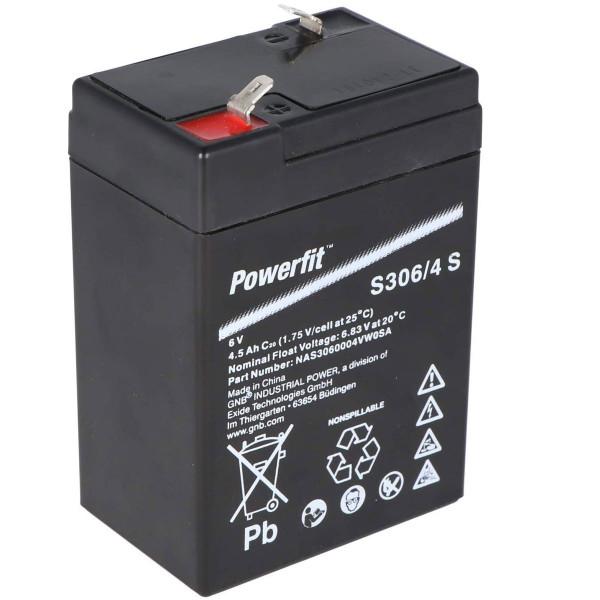 Exide Powerfit S306/4S Bleiakku mit 6,0Volt 4,5Ah und 4,8mm Steckanschlüssen