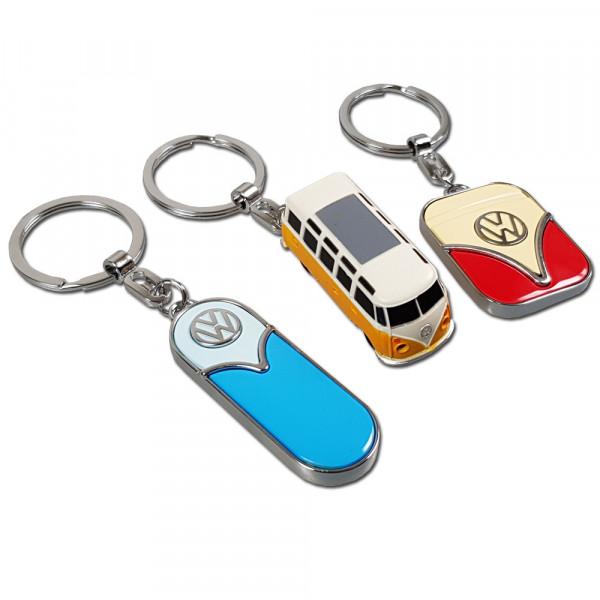 Schlüsselanhänger Volkswagen im 3er-Set, farblich Sortiert, im Retro Design